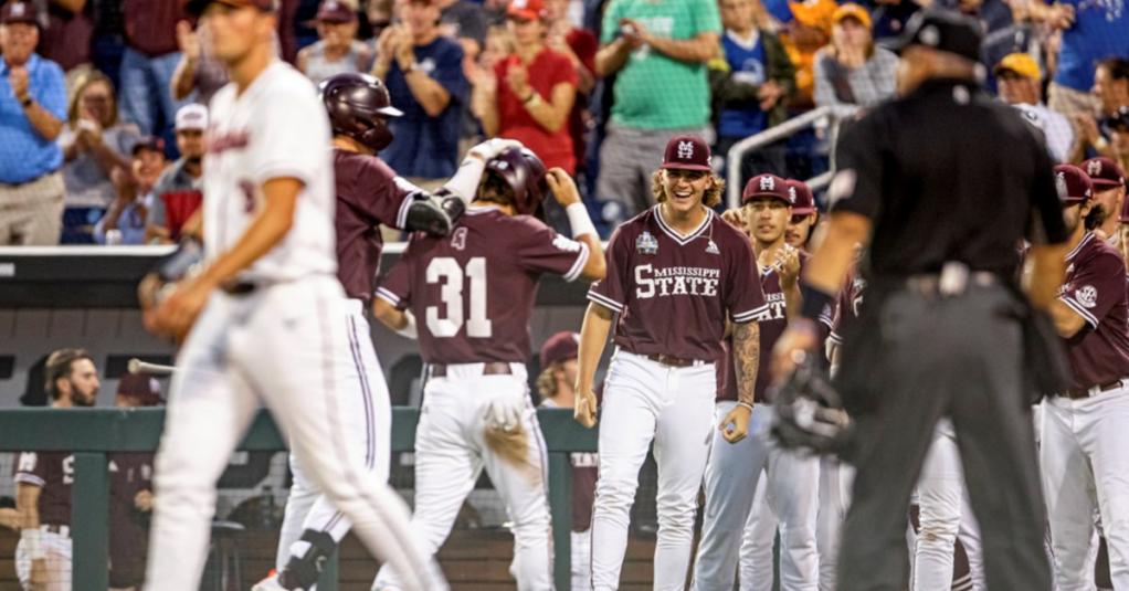 OMAHA, NE - June 22, 2021 - Mississippi State Pitcher Jackson Fristoe (#27) celebrates during the 2021 Mens College World Series game between the Mississippi State Bulldogs and the Virginia Cavaliers at TD Ameritrade Park in Omaha, NE. Photo By Austin Perryman