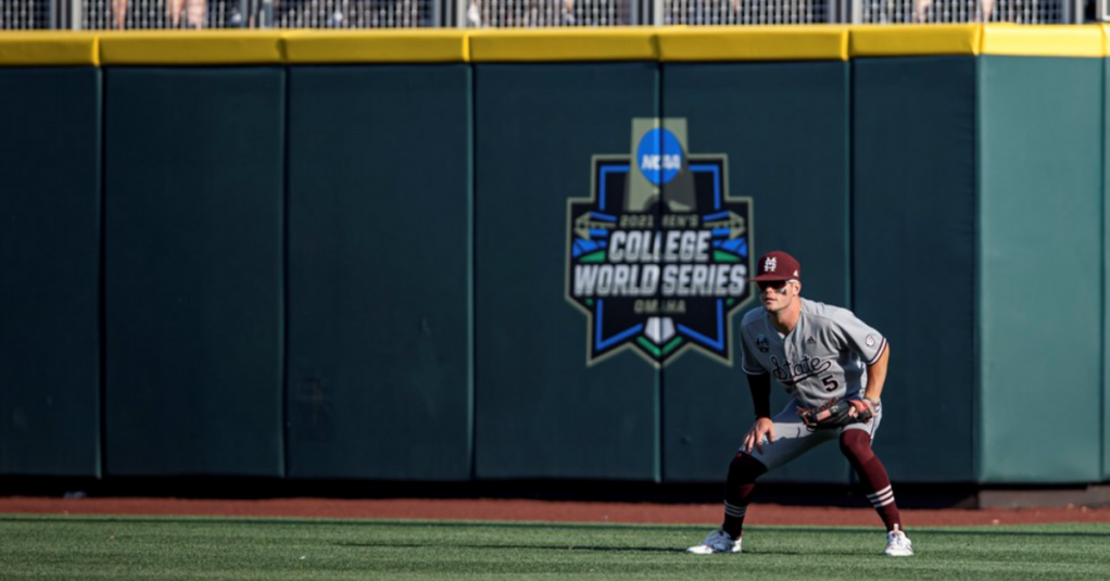 OMAHA, NE - June 20, 2021 - Mississippi State Outfielder Tanner Allen (#5) during the 2021 Mens College World Series game between the Mississippi State Bulldogs and the Texas Longhorns at TD Ameritrade Park in Omaha, NE. Photo By Austin Perryman