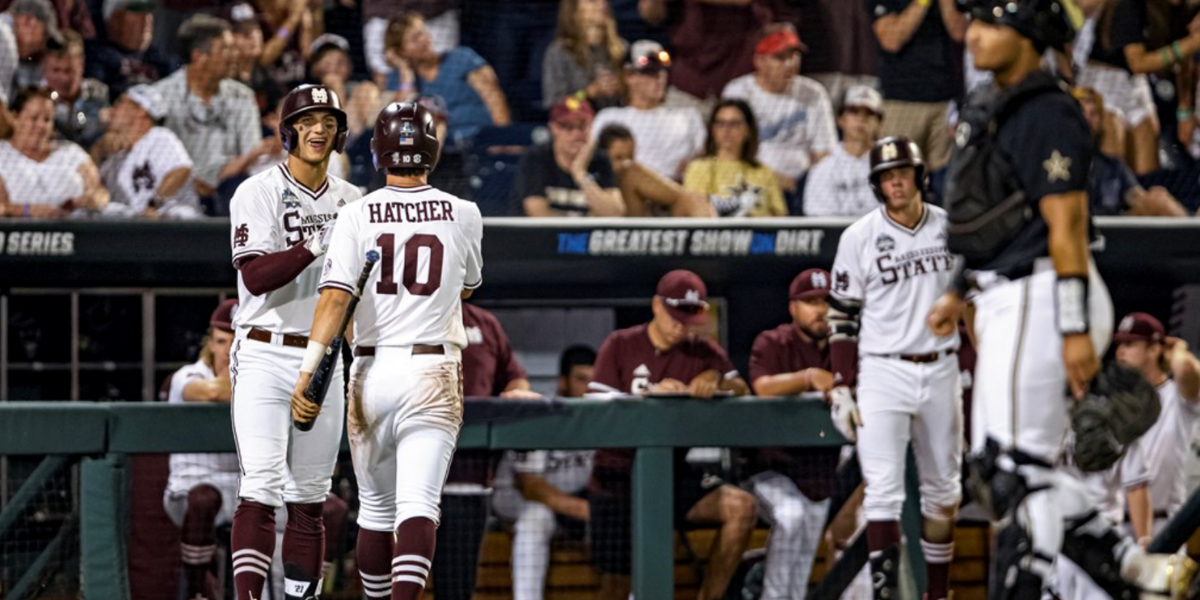 OMAHA, NE - June 29, 2021 - Mississippi State Outfielder Brad Cumbest (#33) and Infielder Josh Hatcher (#10) during game 2 of the 2021 Mens College World Series national championship series between the Vanderbilt Commodores and the Mississippi State Bulldogs at TD Ameritrade Park in Omaha, NE. Photo By Austin Perryman