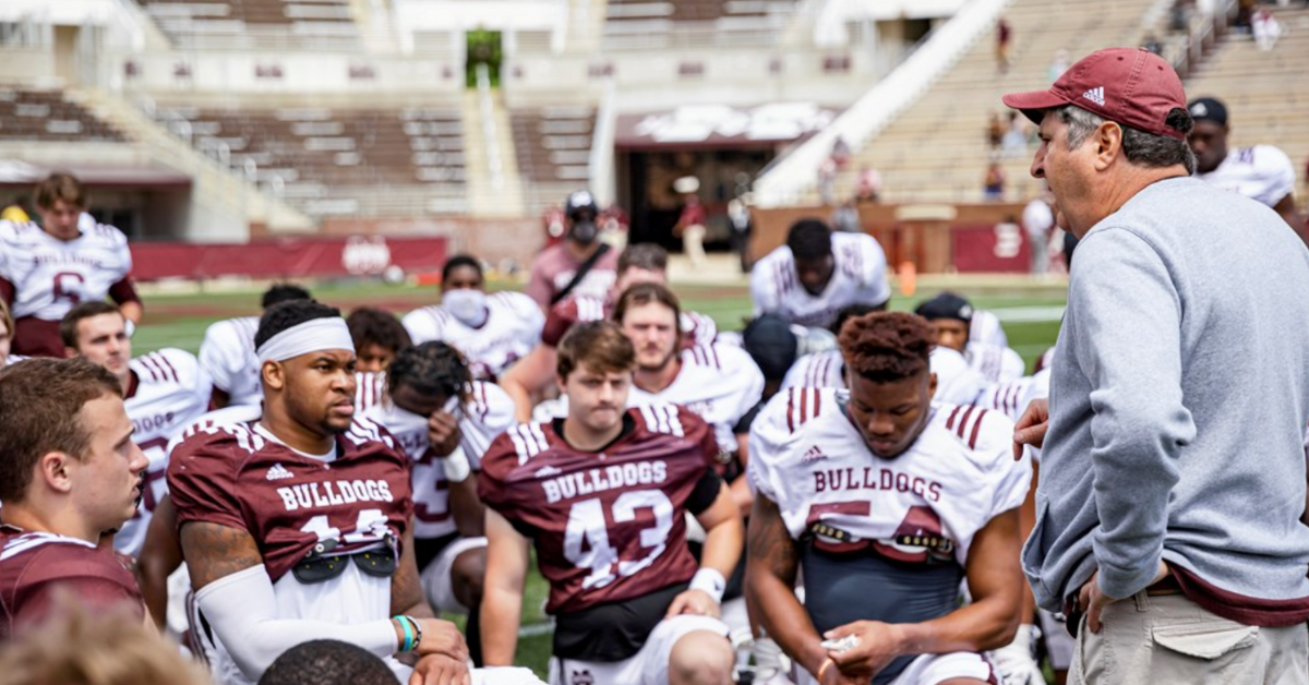STARKVILLE, MS - April 17, 2021 - The Mississippi State Bulldogs compete in the 2021 Maroon & White Spring Game at Davis Wade Stadium at Scott Field in Starkville, MS. Photo By Austin Perryman